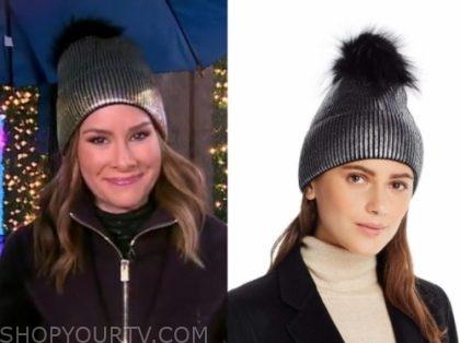 rebecca jarvis's metallic pom beanie hat