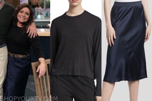 rachael ray's black crewneck top and navy satin slip skirt