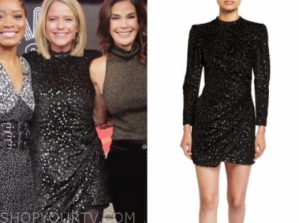 sara haines's black velvet metallic dress