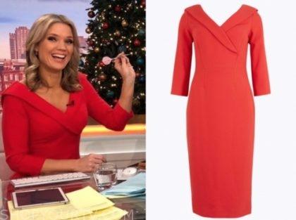 charlotte hawkins's red off-the-shoulder dress