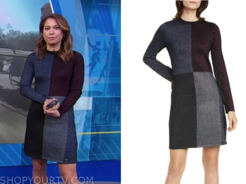 ginger zee's metallic knit dress