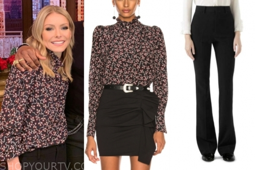 kelly ripa's floral blouse and black pants