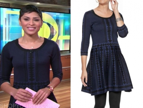 jericka duncan's blue and black geometric knit flare dress