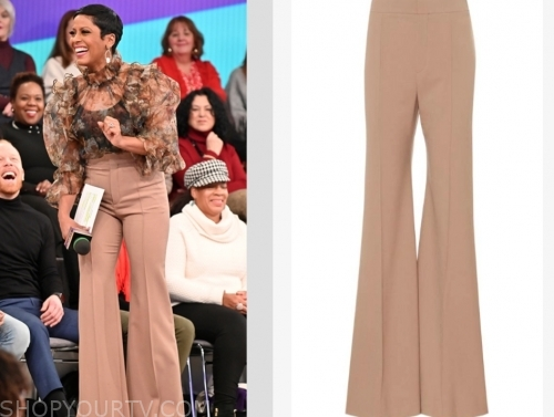 tamron hall's beige trouser pants