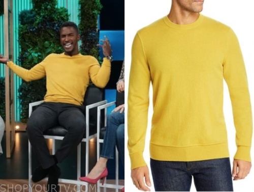 scott evan's yellow crewneck sweater