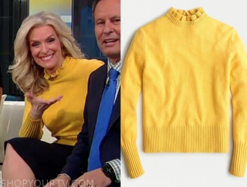 janice dean's yellow ruffle neck sweater