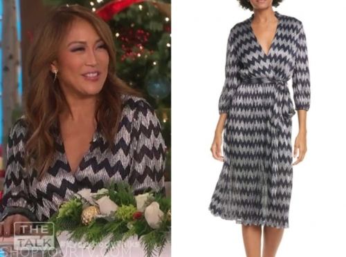 carrie ann inaba's chevron metallic wrap dress