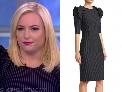 meghan mccain's pinstripe ruffle sheath dress