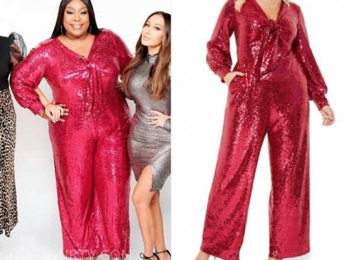loni love's red sequin jumpsuit
