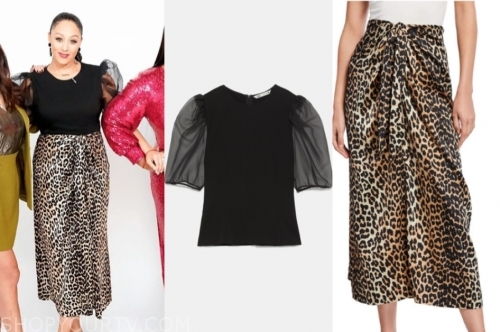 tamera mowry's black sheer sleeve top and leopard skirt