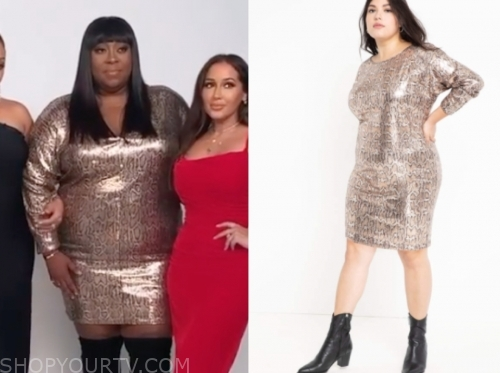 loni love's sequin snakeskin dress