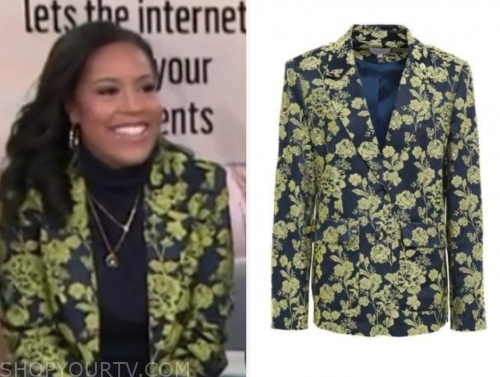 sheinelle jones's green and blue jacquard blazer