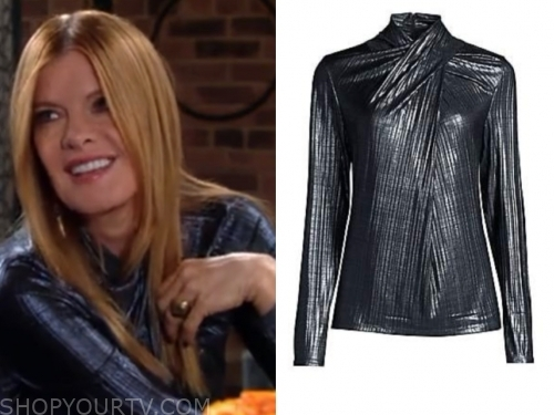 phyllis's blue metallic twist blouse