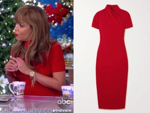 sunny hostin's red mock neck sheath dress