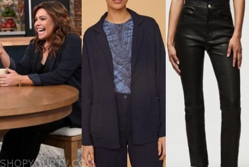 rachael ray's navy blazer and black leather skinny pants