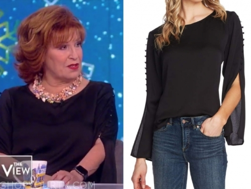 joy behar's black satin button split sleeve top