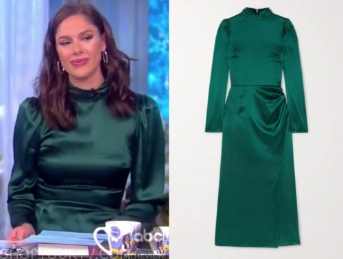 abby huntsman's green satin midi dress