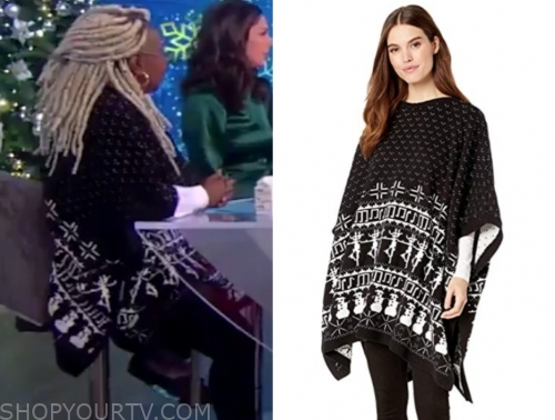 whoopi goldberg's black and white printed knit cape sweater