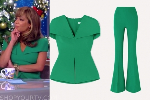 sunny hostin's green top and pants