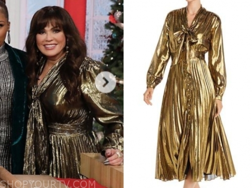 marie osmond's gold tie neck metallic midi dress