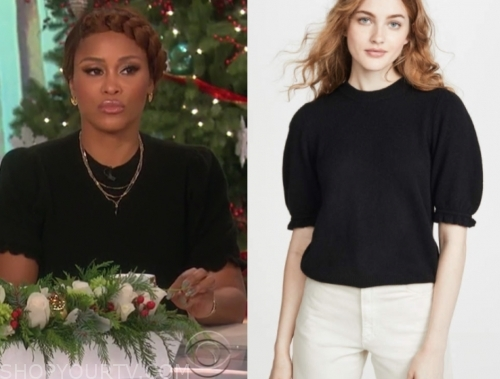 eve's black knit puff sleeve top