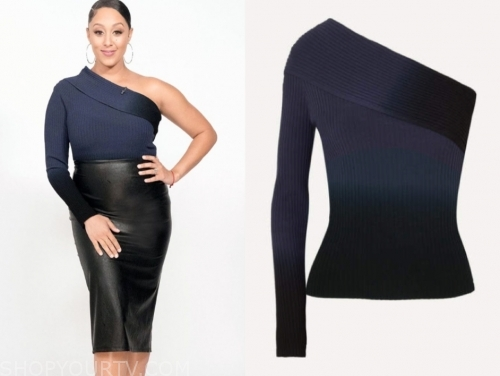 tamera mowry's blue one-shoulder ombre top
