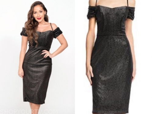 adrienne bailon's metallic cold-shoulder dress