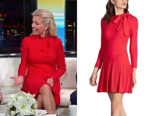 ainsley earhardt's red tie neck dress