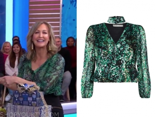 lara spencer's green snakeskin blouse