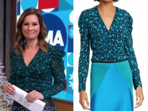 rebecca jarvis's green and blue leopard top