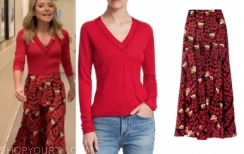 kelly ripa's red v-neck sweater