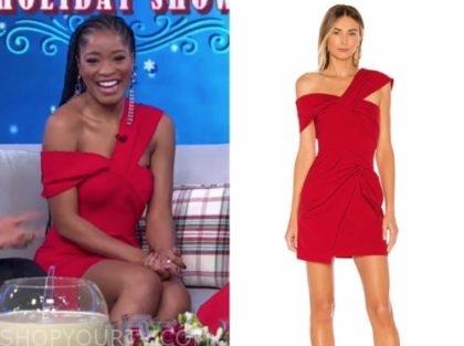 keke palmer's red asymmetric neck mini dress
