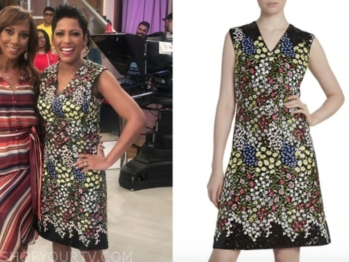 tamron hall's floral v-neck sheath dress