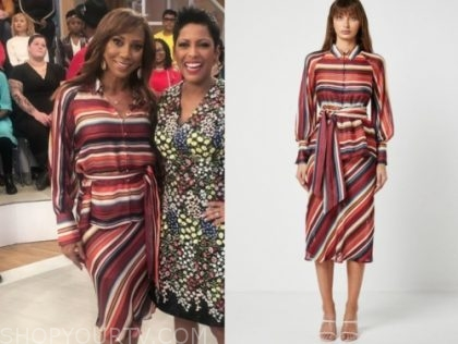holly robinson peete's orange stripe blouse and skirt