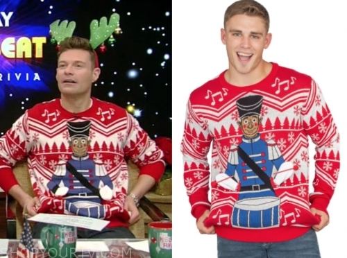 ryan seacrest's red drummer christmas sweater