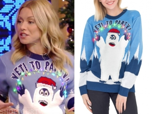 "kelly ripa's ""yeti to party"" christmas sweater"