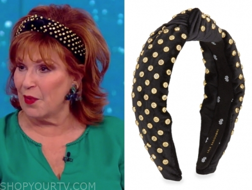 joy behar's black and gold dot velvet knot headband