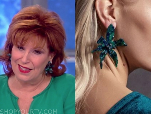 joy behar's green flower drop earrings