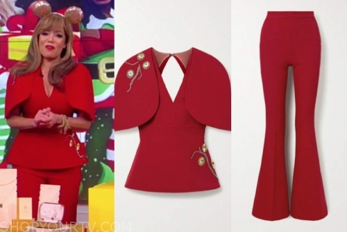 sunny hostin's red embellished cape top and pants