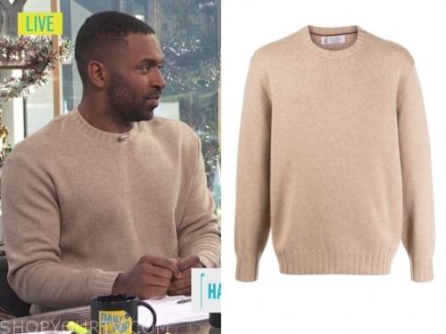 justin sylvester's camel crewneck sweater