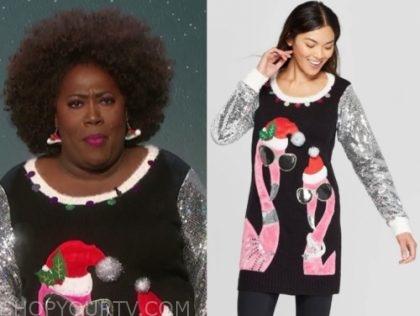 sheryl underwood's sequin flamingo christmas sweater