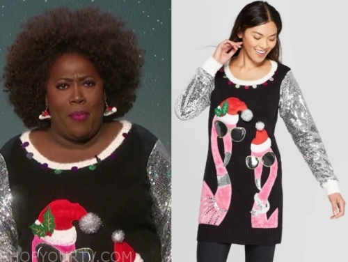 sheryl underwood's sequin flamingo christmas sweater
