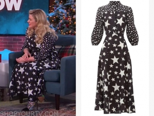 kelly clarkson's black and white star print dress