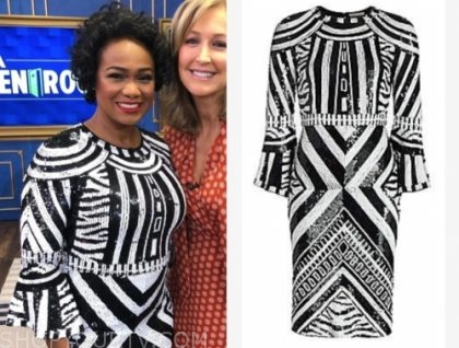 tatyana ali's black and white sequin dress