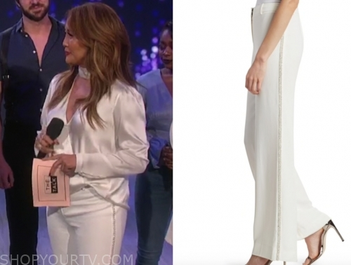carrie ann inaba's white embellished stripe pants