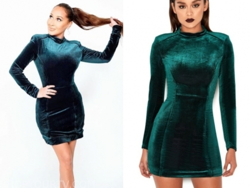 adrienne bailon's green velvet dress