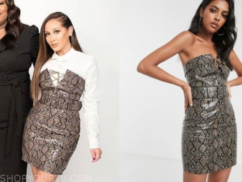 adrienne bailon's snakeskin lace-up dress