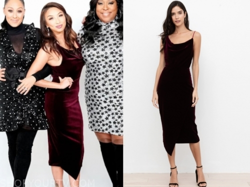 jeannie mai's burgundy cowl velvet asymmetric midi dress
