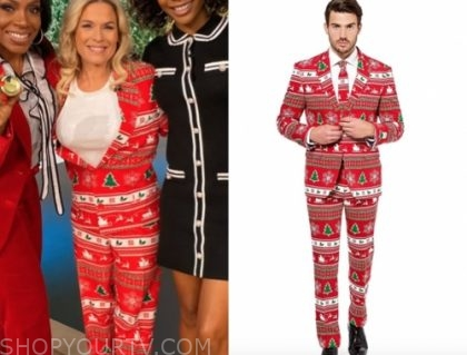 cat cora's red Christmas print pant suit