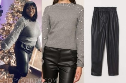 Melissa Chataigne's pearl embellished sweater and black leather pants